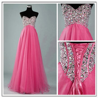 Stunning A-line Sweetheart Sweep Train Prom Dress-Pink