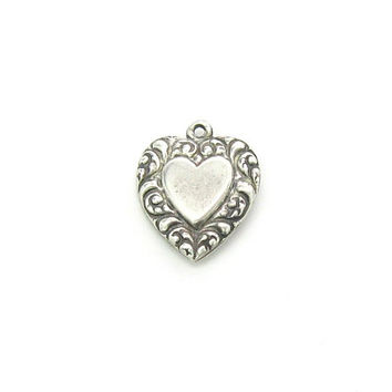 Sterling Silver Heart Charm Pendant Embossed Victorian Revival Puffy Hearts Polished Carved Scrolls Vintage 1940s WWII Sweetheart Jewelry