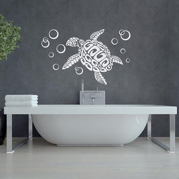 Sea Turtle with Bubbles Wall Decal - Sea Animal Wall Decal Bathroom Decor Ideas - Turtles Wall Decals Vinyl Stickers Animal Home Decor #232