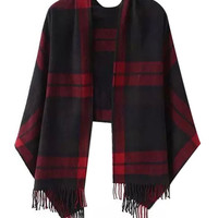 Plaid Fringed Cape