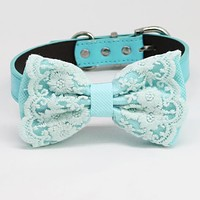 Blue Lace dog bow tie collar, blue Black Gray Brown Ivory Orange Ivory champange Navy Leather dog collar, dog collar, Blue bow tie collar