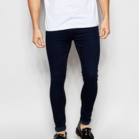 Exclusive to ASOS Waven Jeans Extreme Super Skinny Fit Mid Rise Maria Blue