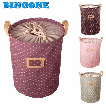 Foldable Cotton & Linen Storage Bucket Laundry Basket with Handle Children's Toy Storage Housekeeping Tidy 35 * 45CM -48