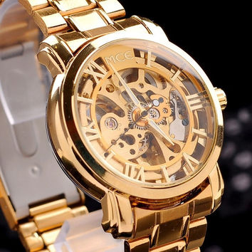 brand MCE!unisex golden Steel Luxury christmas gift watch/AUTOMATIC Watch Gold Skeleton Mechanical watch original gift box (Size: 4, Color: Gold) = 1956862404