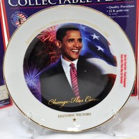 Barack Obama Historic Victory Collectable Plate / Stand & Certificate of Authenticity