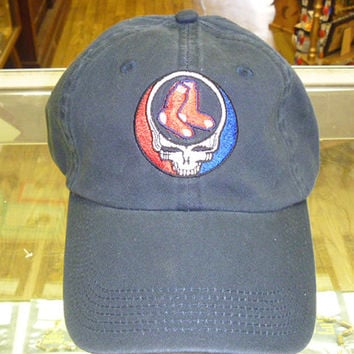 Steal Your Boston Red Sox Grateful Dead Style Baseball Cap Hat BLUE 5235da19a49