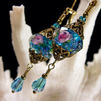 Peacock Blue & Pink Rosebud Swirl Crystal Earrings Steampunk Jewellery Vintage Victorian Style