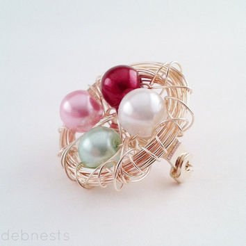 Custom Birthstone Bird Nest Brooch, Mother's Day, 5 Glass Beads in Your Choice of Birthstone Colors