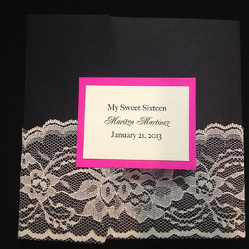 50 Wedding Black with Hot Pink & Lace by PaperDivaInvitations