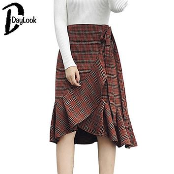 Daylook New Arrival Autumn Khaki Plaid Skirt Women Ruffled Elegant Vintage Scottish Kilt Asymmetrical High Waist Slim Long Skirt