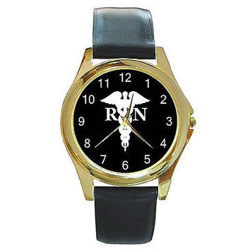 Caduseus and RN .. NURSE on Mens or Womens Gold Watch w/ Leather  NEW