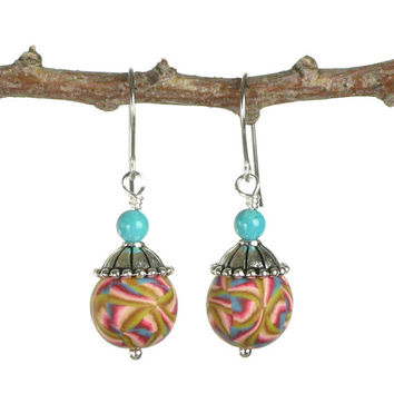 "Colorful Dangle Earrings - Polymer Clay Jewelry - Drop Earrings - Art Jewelry -  Clay Earrings - Silver Jewelry - ""Summer Fun Drops"""