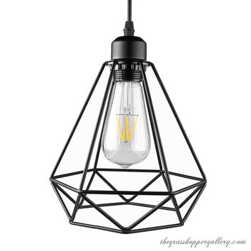 Industrial Diamond Cage Pendant Light (No Bulb Included)