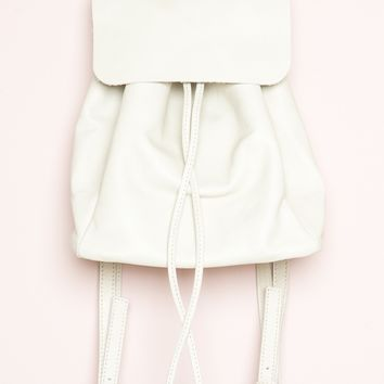 CREAM FAUX-LEATHER MINI BACKPACK