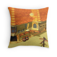 'Costa Del Sol Bar' Throw Pillow by likelikes