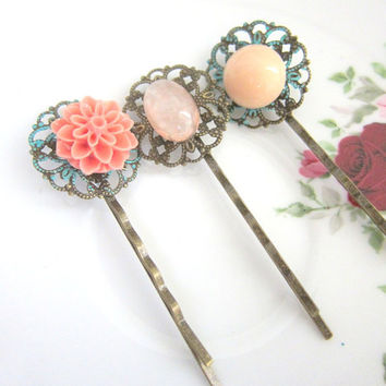 Peach Hair Pins Coral Pink Flowers Vintage Style Wedding Floral Bobby Pin Floral Bridal Hair Pins Set of 3 Bridesmaid Gift Turquoise Patina