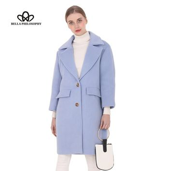Bella Philosophy  winter New wool long thick coat jacket main H Straight with a little cocoon Pure pink blue green camel