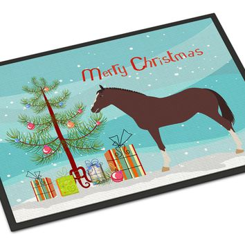 English Thoroughbred Horse Christmas Indoor or Outdoor Mat 18x27 BB9280MAT