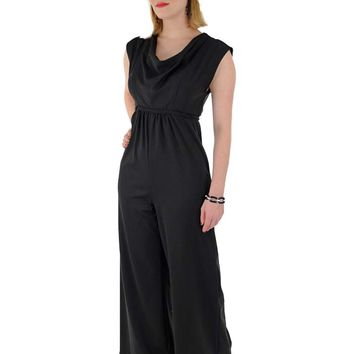 1970s Black Jersey Draped Neck Wide Leg Jumpsuit-S