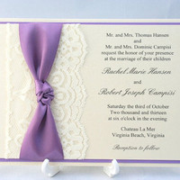 Purple Lace Wedding Invitation with Knotted Ribbon Overlay - Sample