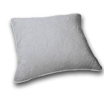 "DaDa Bedding Elegant Floral Grey Diamond Pattern Euro Pillow Sham Cover, 26"" x 26"" (JHW855)"