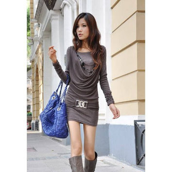 Deep Gray Scoop Neck Faux Long Sleeve Mini Dress
