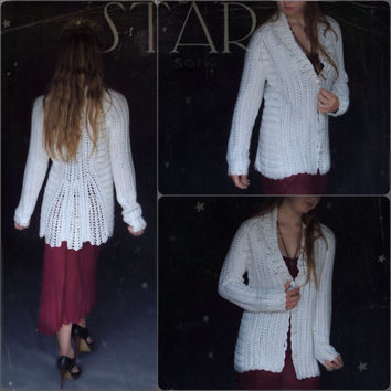 Vintage macrame knit white cardigan jacket / glossy yarn fluted peplum coat
