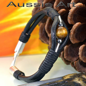 B-307 Sterling Silver, Leather & Tigers Eye Stone New Wristband Men Bracelet.