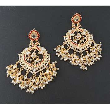 Yellow gold polished pearl cluster beads dangling dual peacock Earring