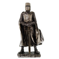 Crusader Knight Statue Silver Finishing Cold Cast Resin Statue 7 (8712)