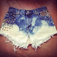 Bleached and studded Denim Shorts by JstforYou on Etsy