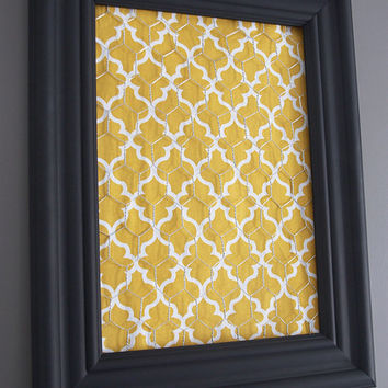 Black Framed Chicken Wire Organizer / Memo Board / Jewelry Hanger / Yellow & White Moroccan tile