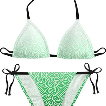 Ombre green and white swirls doodles Bikini