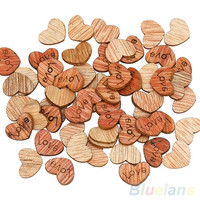 100Pcs Love Heart Wood Sewing Appointment Wedding Decoration Buttons clothing accessories (Size: One Size) = 1932225028