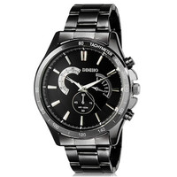 DINIHO 8011G Men's Fashionable Analog Stainless Steel Wrist Watch with Weekly Display & Stainless Steel Band (Black)