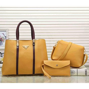 Prada Women Fashion Leather Tote Shoulder Bag Satchel Set Three Piece