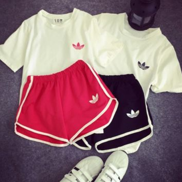 Adidas Women T Shirt Top Sport Gym Sweatpants Set Two-Piece Sportswear