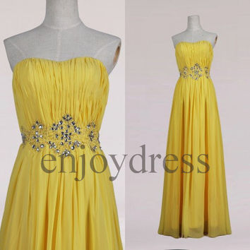 Custom Yellow Beaded Long Prom Dress Formal Evening Gowns Wedding Party Dresses Formal Party Dresses Bridesmaid Dresses 2014 Cocktail Dress