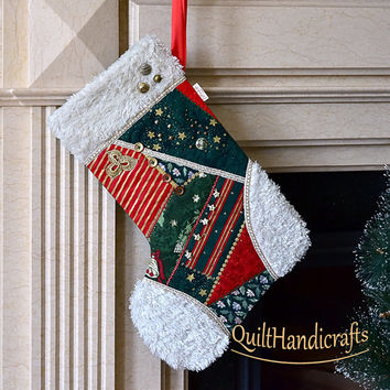 Christmas stocking Quilted Patchwork Christmas stocking Style crazy Victorian cottage Large boot stocking with faux fur cuff Unique gift