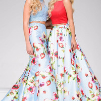 Red and Blue Two piece Prom Dress 49990