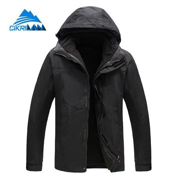 New Winter 3in1 Outdoor Jacket Men Skiing Trekking Coat Windstopper Waterproof Hiking Camping Jaqueta Masculino Fleece Liner