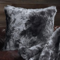 Runway Faux Fur Pillow in Moody Blue | Frontgate