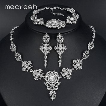 Mecresh Elegant Bridal Jewelry Sets Clear Floral Crystal Necklace Earrings Bracelets Sets Wedding Jewelry for Women TL432+SL031