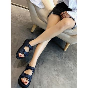 Chanel Beach Sandals deep blue
