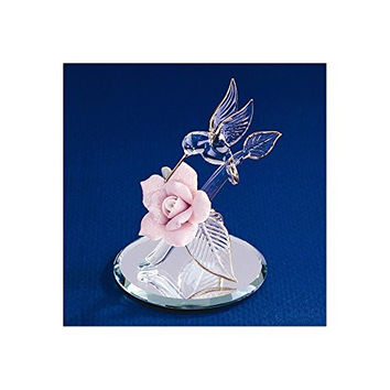 Hummingbird & Porcelain Rose Glass Figurine