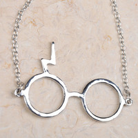 Harry Potter Jewelry Silver Glasses Necklace