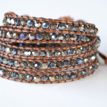 Wrap Bracelet - Brown cord | Blue Crystal