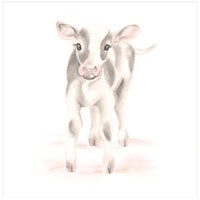 Cow Nursery Art Print - Sweet Blush