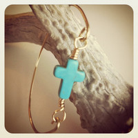 Turquoise stone cross and gold plate wire bangle by miskwill