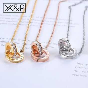 X&P Vintage Ethnic Gold Roman Numeral Crystal Pendant Necklaces for Women Men Fashion Geometric Long Link Chain Necklace Jewelry